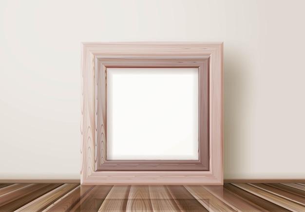 Moldura de madeira clara realista para galeria de arte ou outro