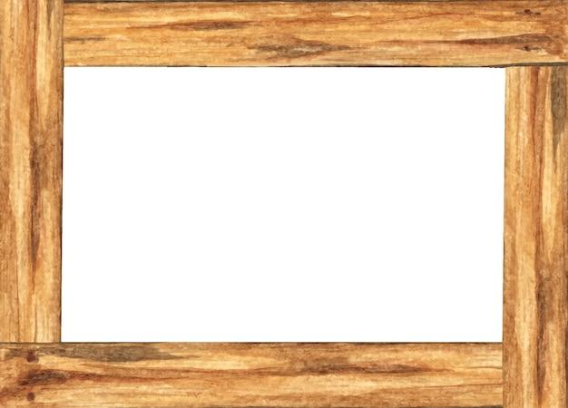 Moldura de madeira com espaço para texto. pintura aquarela.