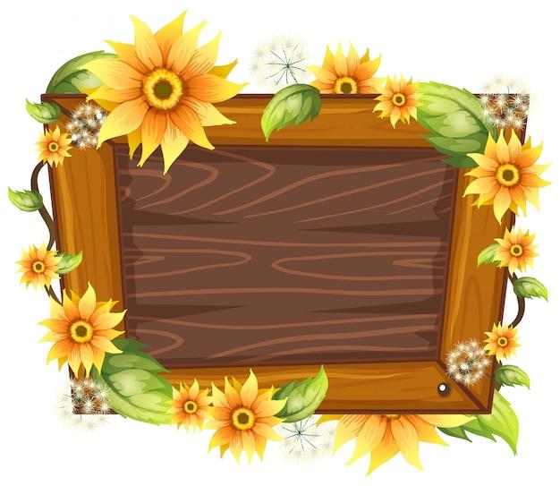Moldura de madeira com flor