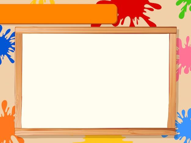 Moldura de madeira com tinta de cor, copyspace