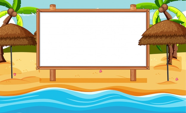 Moldura de madeira em branco na cena da praia