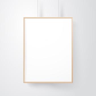 Moldura de madeira em branco na maquete de vetor de parede