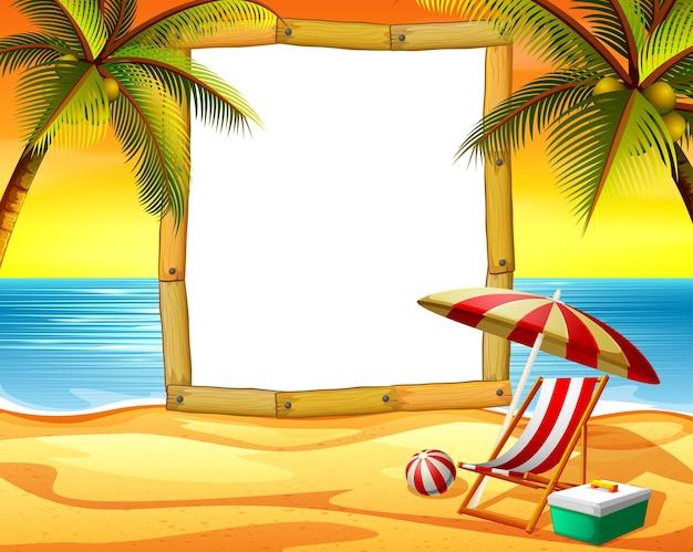 Moldura de madeira espaço em branco com o fundo da praia do sol e alguns coqueiros