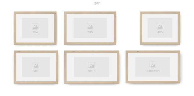 Moldura de madeira para fotos ou porta-retratos para design de interiores e decoração