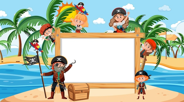 Moldura de madeira vazia com o personagem de desenho animado de muitas crianças piratas na praia