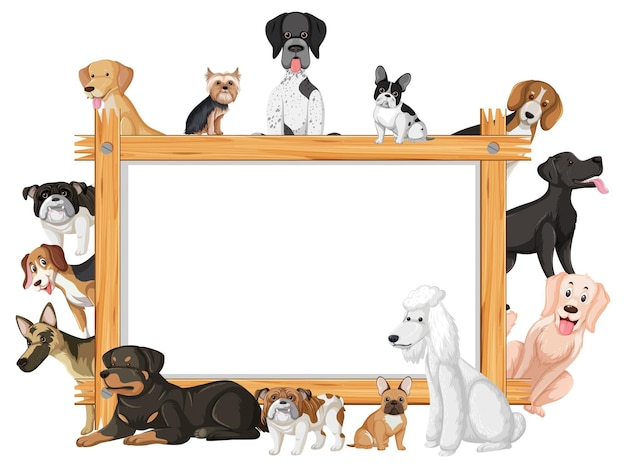 Moldura de madeira vazia com várias raças de cães