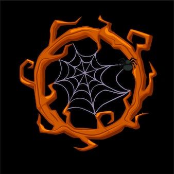 Moldura de madeira velha com aranha, ramos de grinalda para jogos de interface do usuário. frame de madeira assustador da ilustração vetorial com teia de aranha para o halloween.