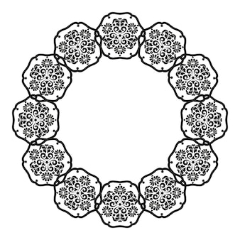 Moldura de mandalapara o design de molduras menus convites de casamento gráficos digitais preto e branco