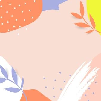 Moldura de memphis com folhas coloridas