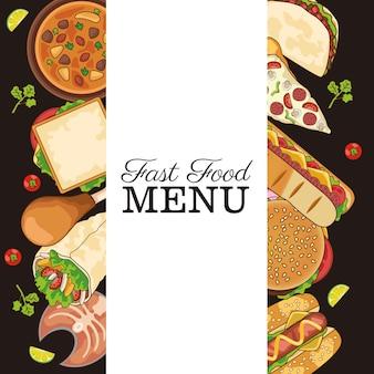 Moldura de menu de fast food delicioso