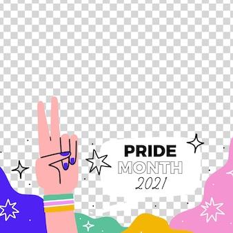 Moldura de mídia social desenhada à mão para o dia do orgulho