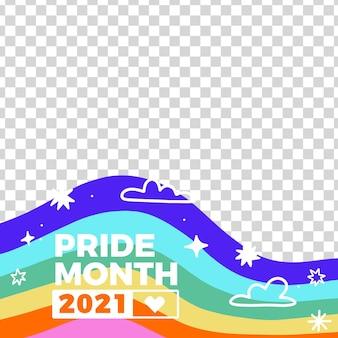 Moldura de mídia social desenhada à mão para o dia do orgulho Vetor grátis