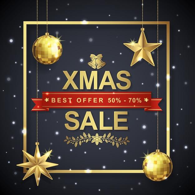 Moldura de modelo de banner de venda de natal e estrelas de enforcamento