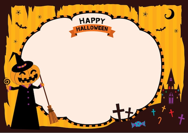 Moldura de modelo de festa de halloween com abóbora