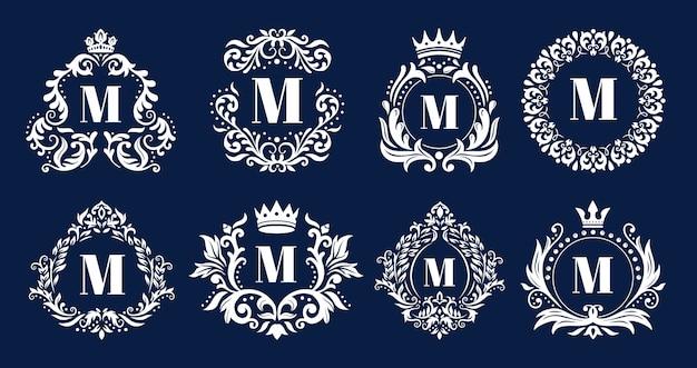 Moldura de monograma de luxo. monogramas ornamentais, ornamento de logotipo de iniciais heráldicas e quadros de borda elegante letras conjunto de ilustração vetorial