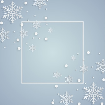 Moldura de natal com flocos de neve de decoração
