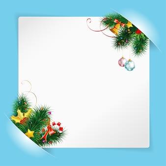 Moldura de natal com folha de papel branco, montada nos bolsos