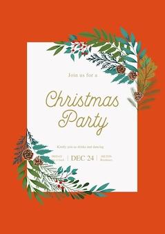 Moldura de natal com galhos de pinheiro e abeto, plantas de inverno, bagas de azevinho, cones. convite para festa de natal e feliz ano novo.