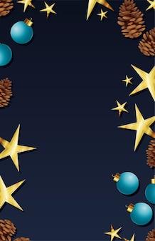Moldura de natal com ilustração de bolas e estrelas