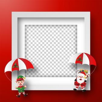 Moldura de natal com papai noel e elfo