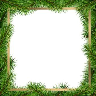 Moldura de natal feita de galhos de árvores spruce.