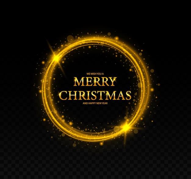 Moldura de natal redonda com moldura de estrelas cartão de feliz natal