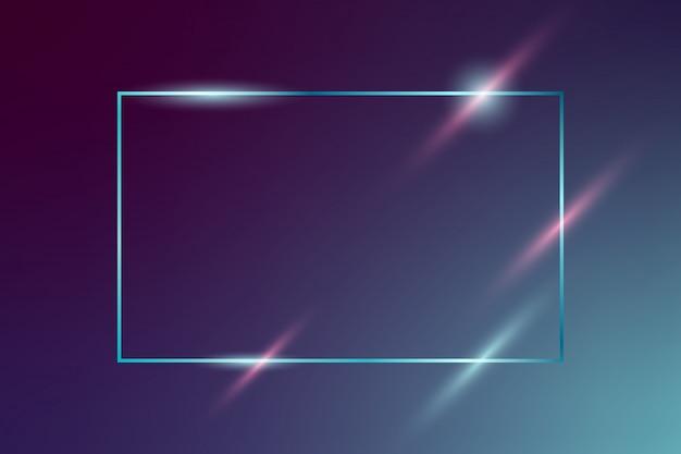 Moldura de néon brilhante vetor sobre fundo azul escuro