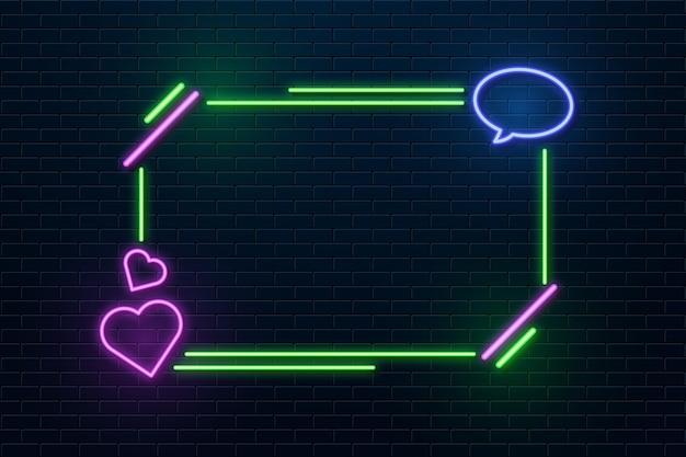 Moldura de néon com formas de coração