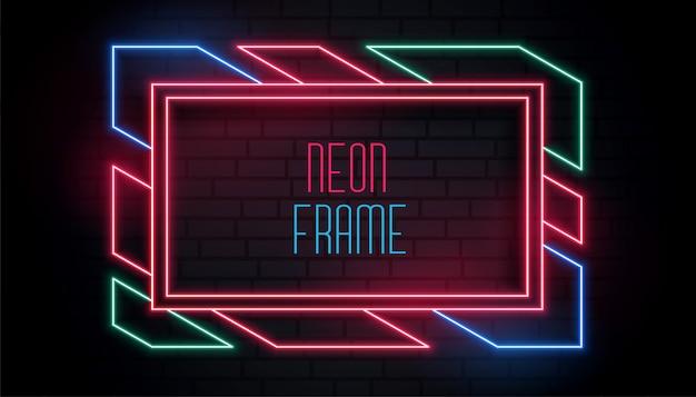 Moldura de néon na moda colorida com espaço de texto