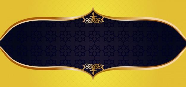 Moldura de ornamento de ouro em um banner preto padrão