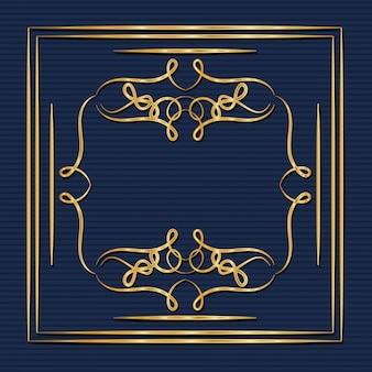 Moldura de ouro art deco com ornamentos em fundo azul
