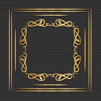 Moldura de ouro art deco com ornamentos em fundo cinza