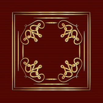 Moldura de ouro art deco com ornamentos em fundo vermelho