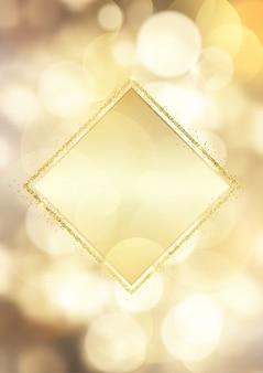 Moldura de ouro brilhante sobre um fundo de luzes de bokeh