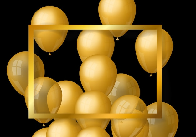 Moldura de ouro com balão de ouro sobre fundo preto
