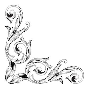 Moldura de ouro e borda com estilo barroco. cor preto e branco. decoração de gravura floral
