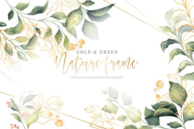 Moldura de ouro e verde natureza