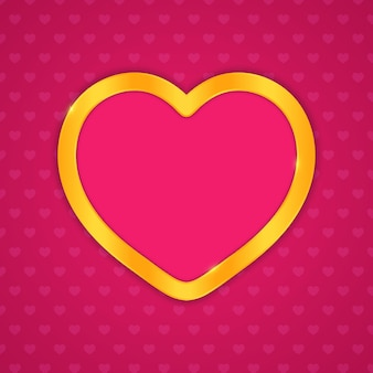 Moldura de ouro em forma de coração. desenho vetorial para casamento ou dia dos namorados