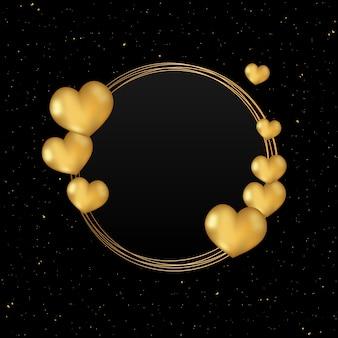 Moldura de ouro em forma de coração