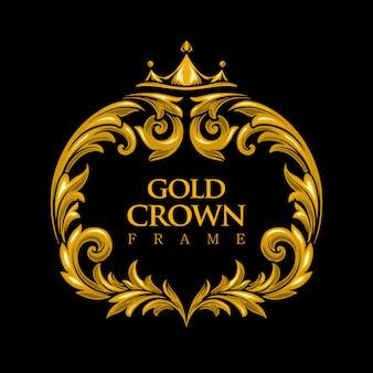Moldura de ouro luxo logotipo coroa