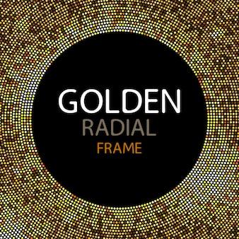 Moldura de ouro luzes de discoteca de vetor ou lantejoulas rodada quadro