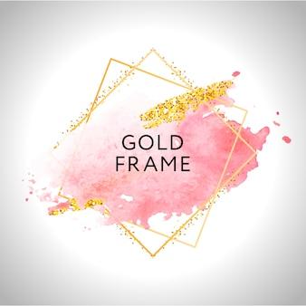 Moldura de ouro mão pintada pincelada.