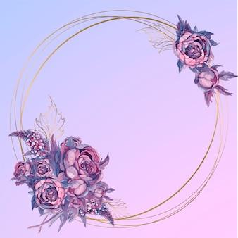Moldura de ouro redonda com um buquê de flores em aquarela
