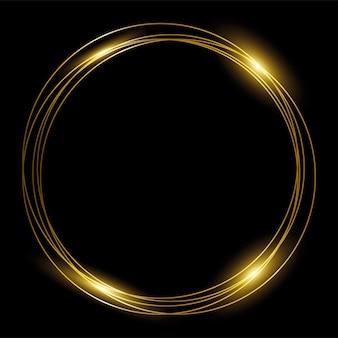 Moldura de ouro redonda de anéis de ouro em fundo preto.