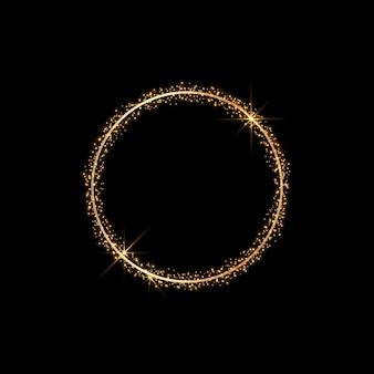 Moldura de ouro redonda de vetor com glitter e foguetes.