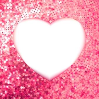 Moldura de ouro rosa em forma de coração.
