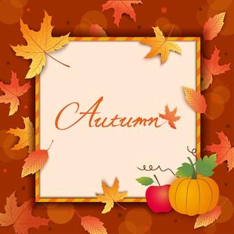 Moldura de outono com folhas e abóbora