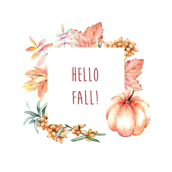 Moldura de outono em aquarela com abóbora e folhas