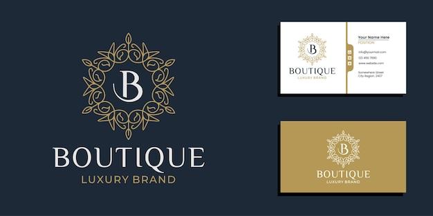 Moldura de padrão boutique de luxo com modelo de design de letra inicial e cartão de visita minimalista