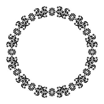 Moldura de padrão circular damasco com elementos decorativos florais vintage preto e branco